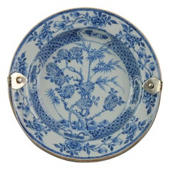 Rare Kangxi Plate with Silver Handle Floral Bonboniere Chinese China Porcelain