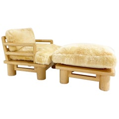 Rare Karl Springer Dowelwood Lounge Chair and Ottoman with Sheepskin Cushions