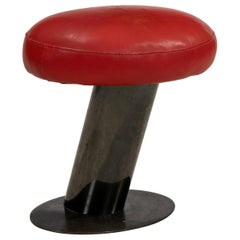 Rare Karl Springer Leather and Metal Stool