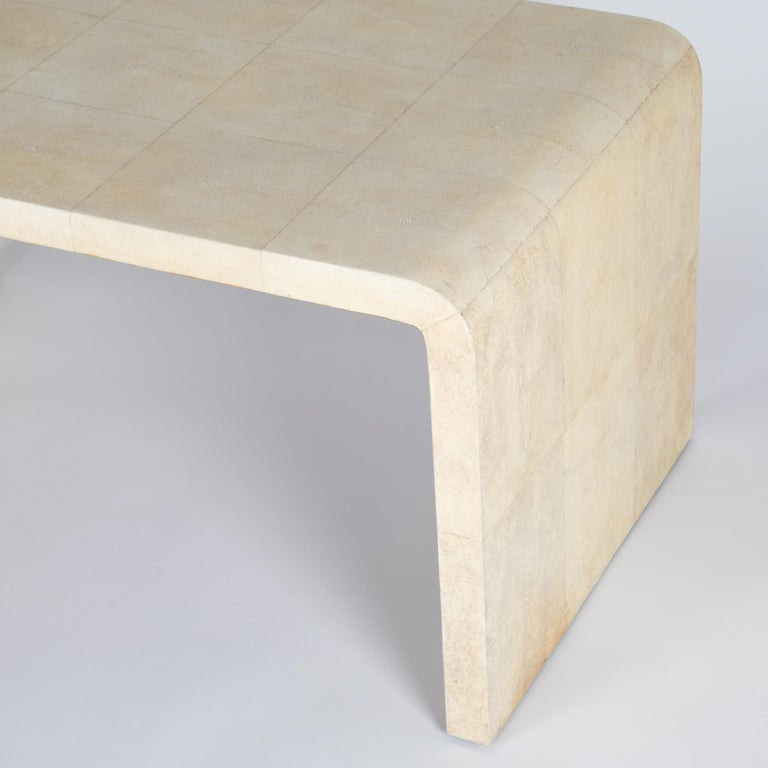 Rare Karl Springer Natural Shagreen Waterfall Coffee Table, circa 1980s For Sale 3
