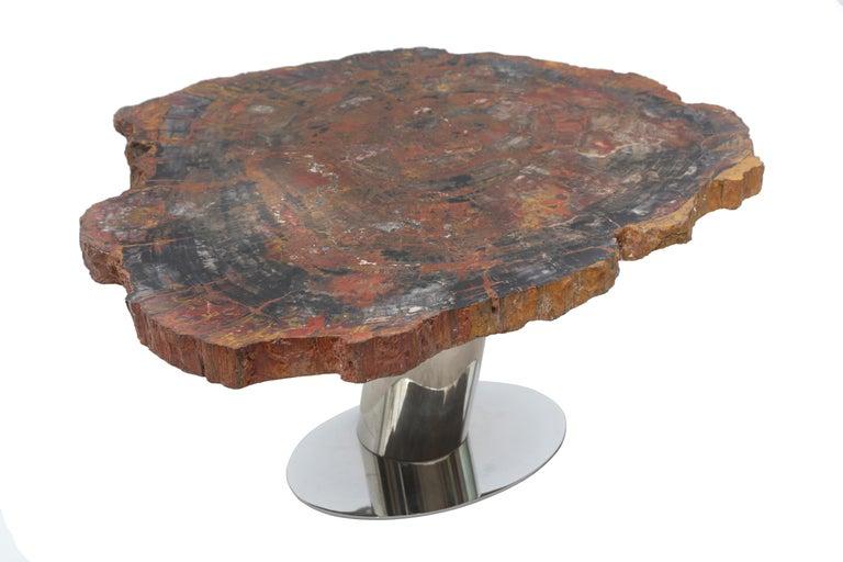 Wonderful rare Karl Springer petrified wood table. Top sits on an angled stainless steel tubular base.