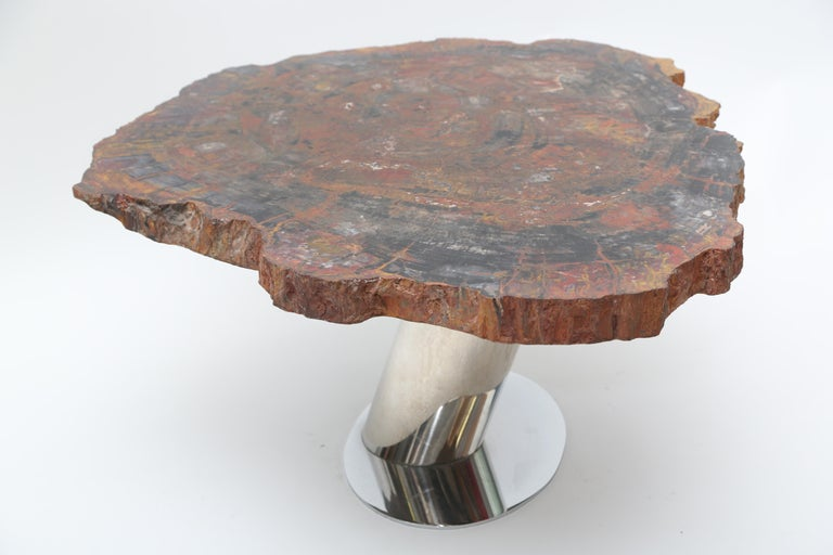 American Rare Karl Springer Offset Petrified Wood Table For Sale
