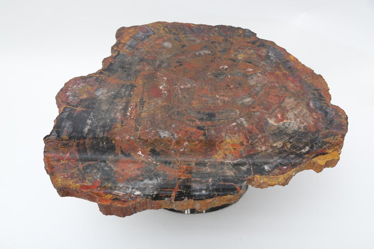 Rare Karl Springer Offset Petrified Wood Table In Good Condition For Sale In West Palm Beach, FL
