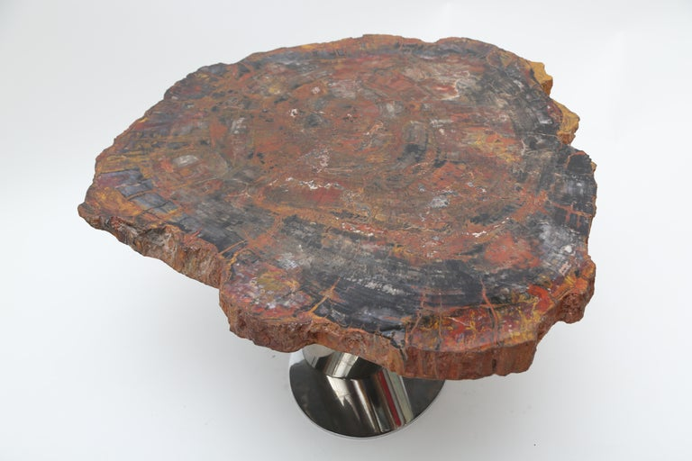 Rare Karl Springer Offset Petrified Wood Table For Sale 1