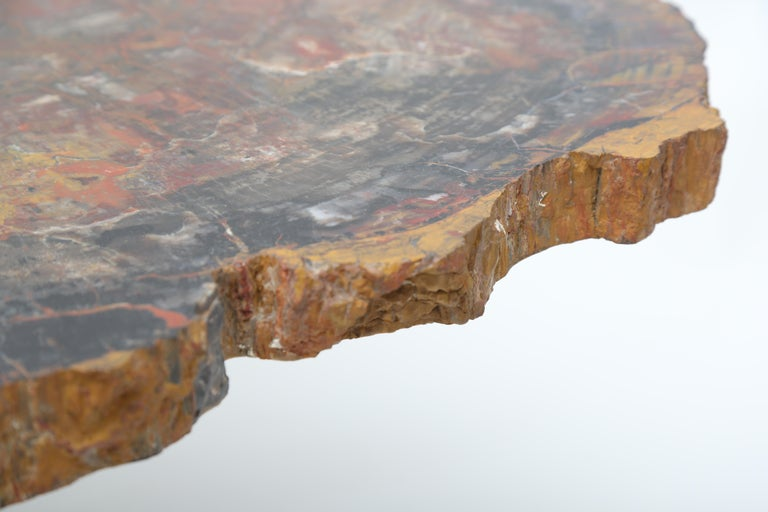 Rare Karl Springer Offset Petrified Wood Table For Sale 3