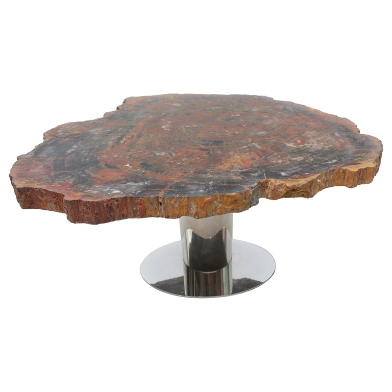 Rare Karl Springer Offset Petrified Wood Table For Sale