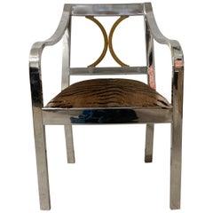 "Rare Karl Springer ""Regency"" Armchair Polished Chrome Brass and Tiger Cow Hide"