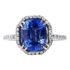 Rare Kashmir GIA 3.97cts Blue Sapphire Diamond Platinum Ring