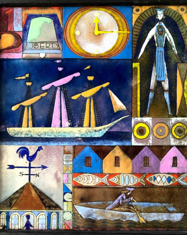 Mid-Century Modern Rare Kay Whitcomb Enamel Triptych Panel Paul Reveres Midnight Ride For Sale