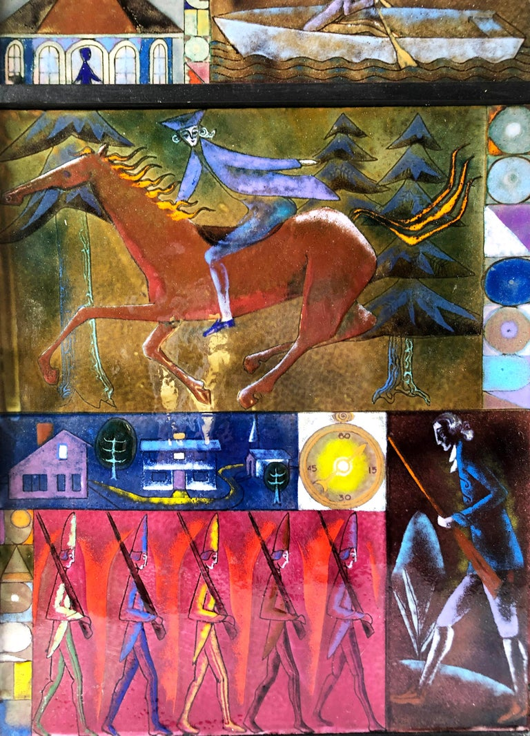 American Rare Kay Whitcomb Enamel Triptych Panel Paul Reveres Midnight Ride For Sale