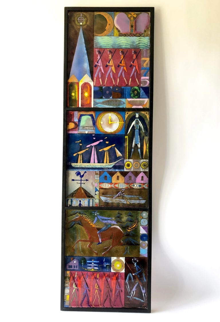 Rare Kay Whitcomb Enamel Triptych Panel Paul Reveres Midnight Ride For Sale 1