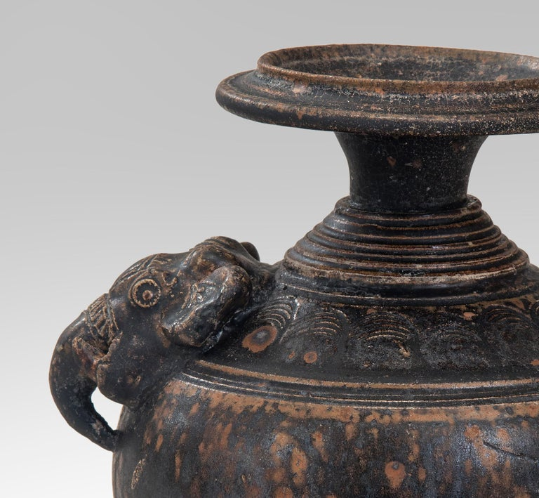 Cambodian Rare Khmer Elephant Mask Earthenware Vase For Sale