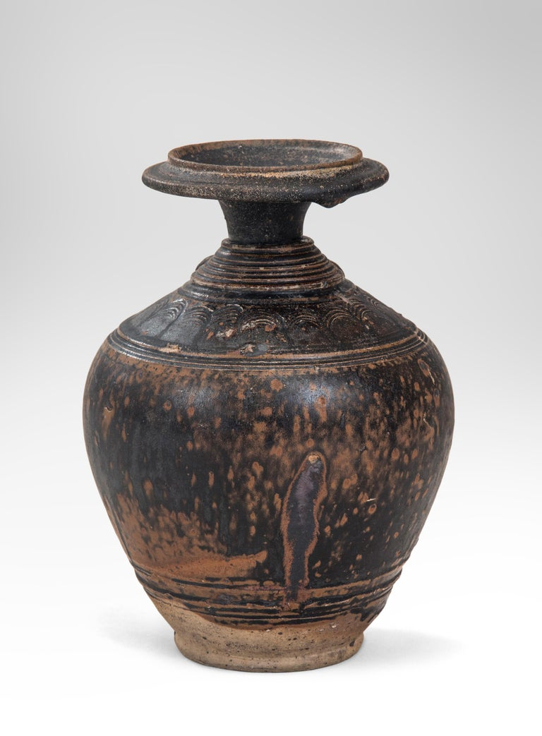 Rare Khmer Elephant Mask Earthenware Vase In Good Condition For Sale In New York, NY