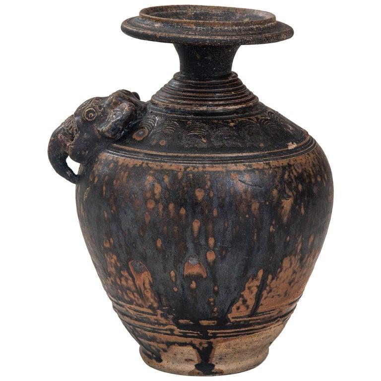 Rare Khmer Elephant Mask Earthenware Vase For Sale