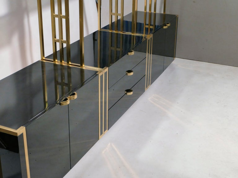 Rare Kim Moltzer French Lacquer and Brass Shelves, 1970s 5