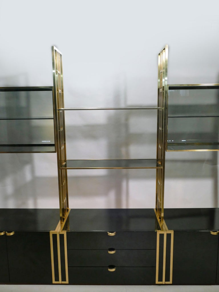 Rare Kim Moltzer French Lacquer and Brass Shelves, 1970s 6
