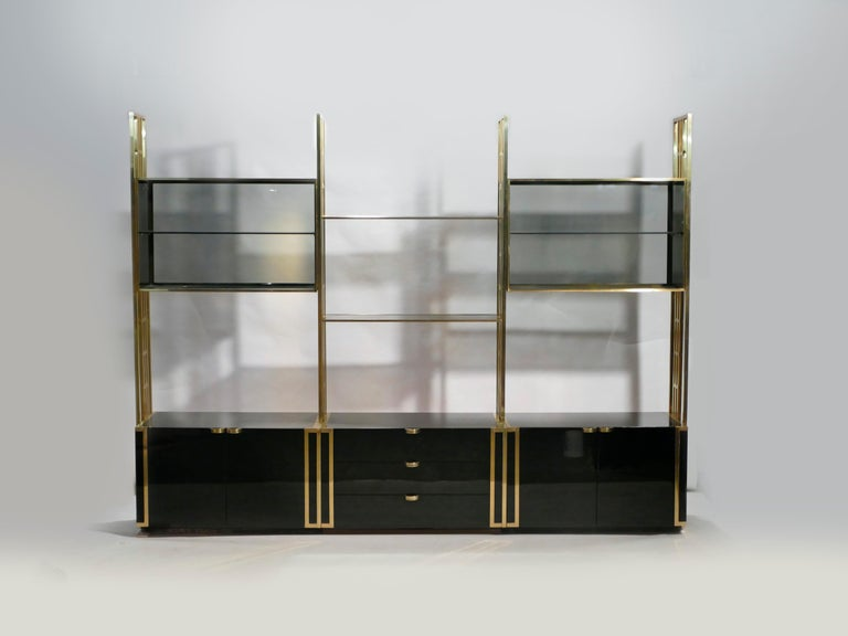 Mid-Century Modern Rare Kim Moltzer French Lacquer and Brass Shelves, 1970s