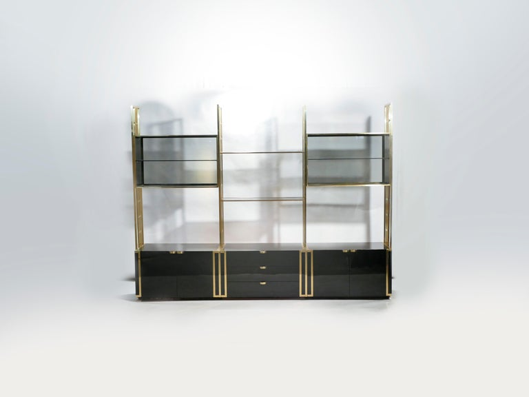 Lacquered Rare Kim Moltzer French Lacquer and Brass Shelves, 1970s