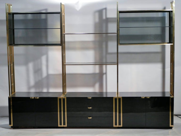Rare Kim Moltzer French Lacquer and Brass Shelves, 1970s In Good Condition In Paris, FR