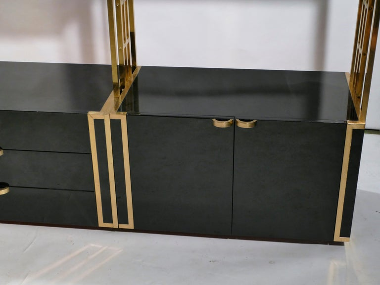 Rare Kim Moltzer French Lacquer and Brass Shelves, 1970s 1
