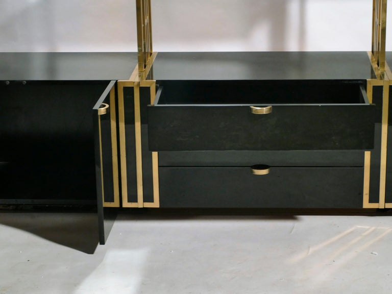 Rare Kim Moltzer French Lacquer and Brass Shelves, 1970s 3