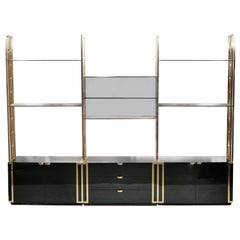 Rare Kim Moltzer French Lacquer and Brass Shelves, 1970s