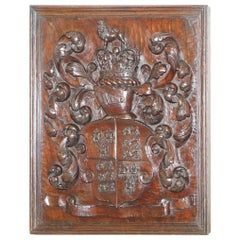 Rare King George III 1738-1820 English Royal Coat of Arms Armorial Crest Walnut