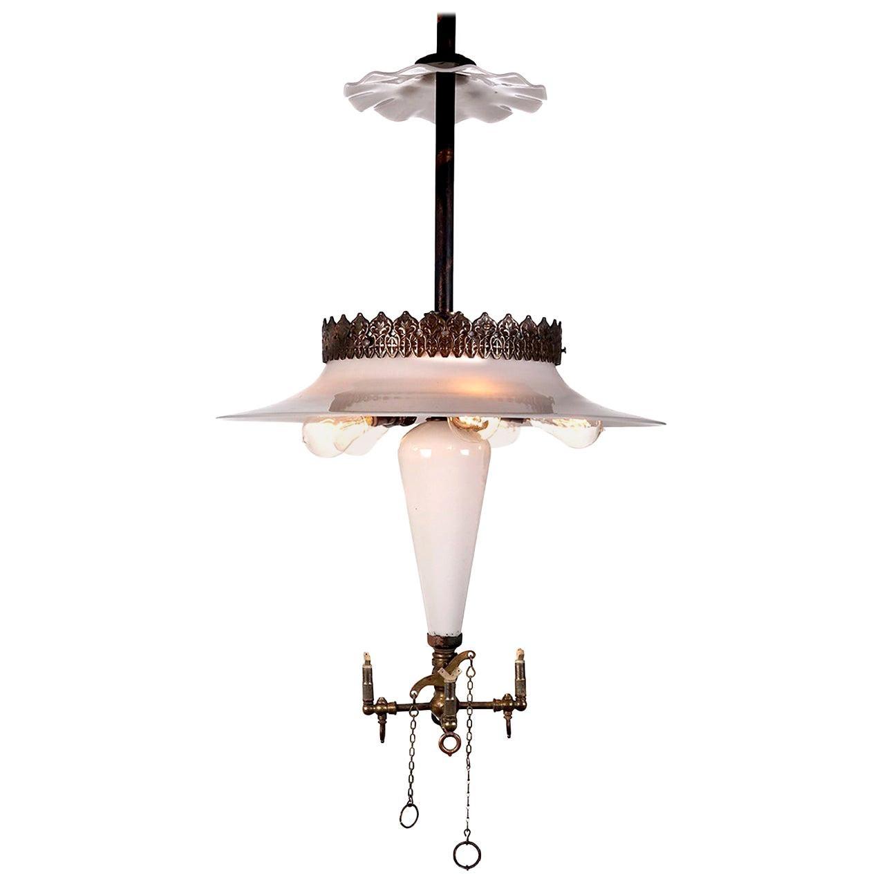 Rare Klemm Opal Cluster Reflector Lamp and Smoke Shield