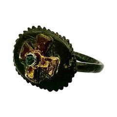 Rare Knights Templar Byzantine Bronze, Gold, Emerald Cross Ring, c.1118-1312 AD
