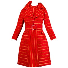 Rare Kreinick 1960s Vintage Red + Yellow Polka Dot Mod Dress + Jacket Ensemble