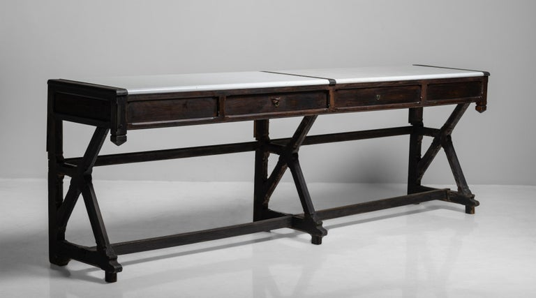 """Rare laboratory console, France, circa 1870  Beautifully made table with lava stone top and uniquely constructed base.  Measures: 113.25"""" W x 24"""" D x 37.25"""" H.     $ 9,500."""