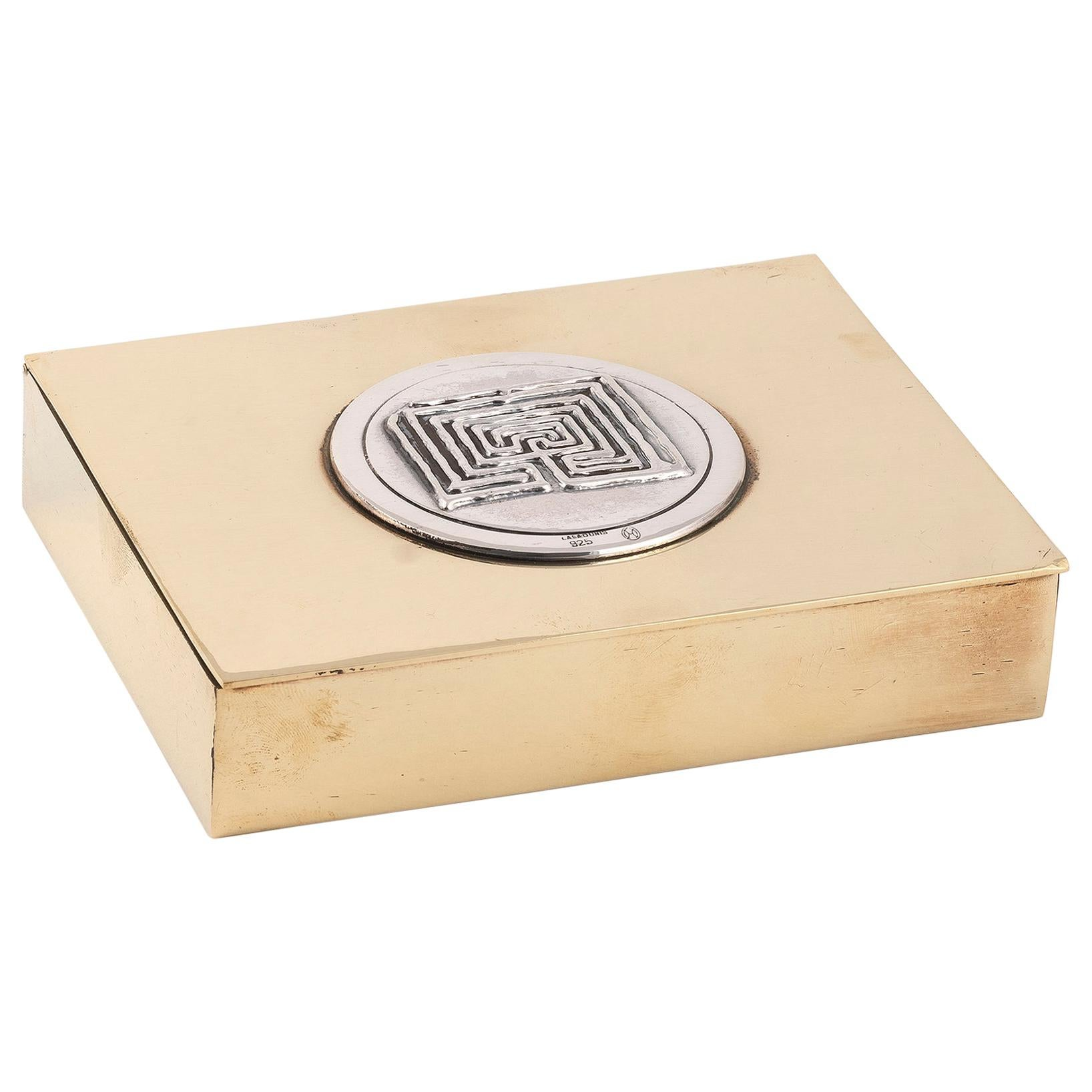 Rare Labyrinth Cigarette Box by Lalaounis, Brass and Silver, 1970s