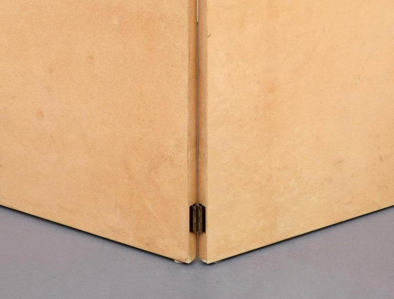 Mid-Century Modern Rare Lacquered Parchment Screen by Aldo Tura For Sale