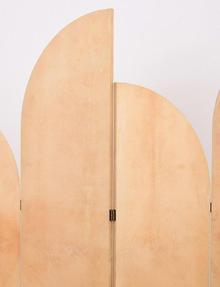 Late 20th Century Rare Lacquered Parchment Screen by Aldo Tura For Sale