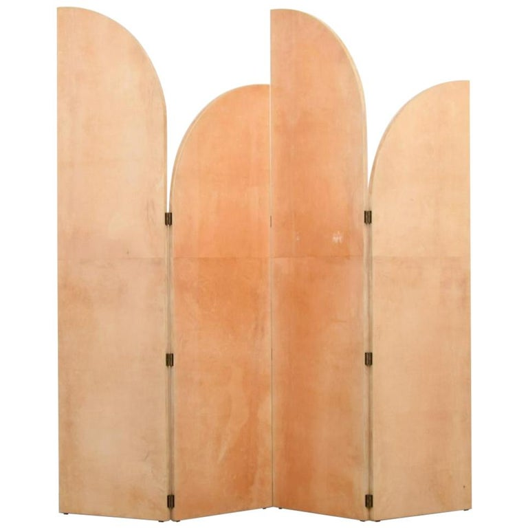 Rare Lacquered Parchment Screen by Aldo Tura For Sale