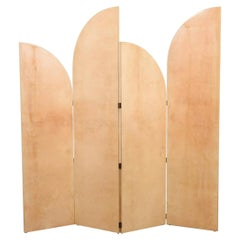 Rare Lacquered Parchment Screen by Aldo Tura