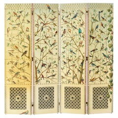 "Rare Lacquered wood ""Uccelli"" Folding Screen by Piero Fornasetti"