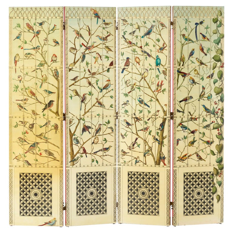 """Rare Lacquered wood """"Uccelli"""" Folding Screen by Piero Fornasetti For Sale"""