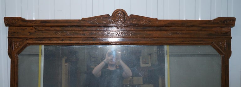 English Rare Lambs of Manchester Aesthetic Movement Mercury Glass Mirror For Sale
