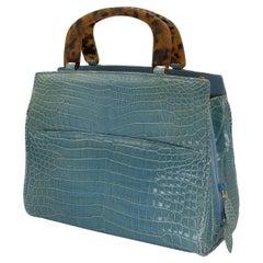 Rare Lana Marks Celadon blue Crocodile handbag with matching strap