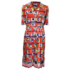 Rare Lanvin novelty print dress, circa 1970