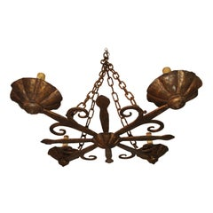 Rare Large 1930's French Wrought Iron Chandelier