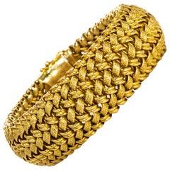 Rare Large 1950s-1960s Patek Philippe 18 Karat Gold Herringbone Motif Bracelet