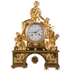 Rare Large Romantic French Directoire Mantel Clock, Late 18th C
