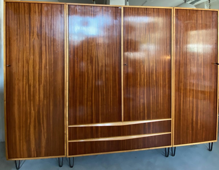 Hand-Crafted Rare Large Alfred Hendrickx 1950s Wardrobe for Belform, Belgium