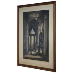 Rare & Large Antique Gothic Cathedral / Church Etching Signed Albany Edmond 1915