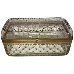Rare Large Antique Hand-Painted Crystal Bronze Baccarat Jewelry Glove Box Casket