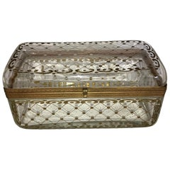 Rare Large Antique Hand Painted Crystal Bronze Baccarat Jewelry Glove Box Casket