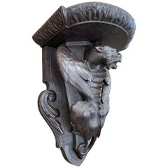 Rare & Large Antique Wooden Gothic Art Gargoyle Sculpture Wall Bracket or Shelf