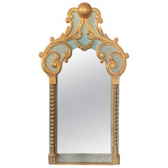 Rare Large Baroque Mirror circa 1900-1930, in Lacquered and Gilded Wood